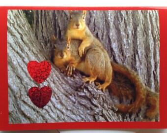 Squirrel Valentine Card - Cute Valentine Card - Adorable Valentine Card - Squirrel Love Valentine - Romantic Valentine Card - Whimsical Card