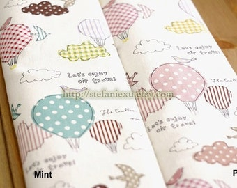 Air Travelling-Birds, Hot Air Balloon and Clouds Patchwork(LAST Piece, 15.7x31.4 Inches)-Linen Cotton Blended Fabric