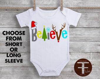 Believe ONESIE ®, Christmas Onesie, I Believe in Santa, Funny Onesies For Boys, Onesie for Boy, Onesie for Girl, Baby Shower Gift, Holiday