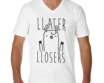 Later Losers Cool Llama Peace Funny Tshirt  V-Neck T-Shirt for Men Cool Gift