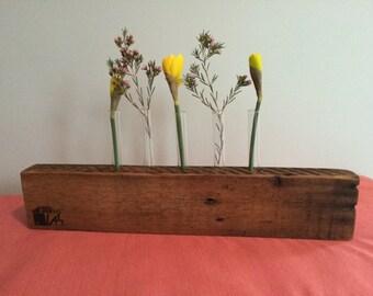 5-stem reclaimed wood bud vase/centerpiece