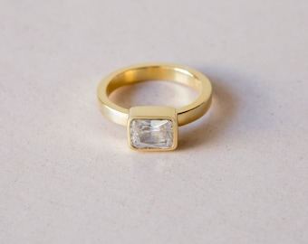 White zirconia ring - silver ring - gemstone ring - gold ring - anniversary gift - handmade ring - engagement ring - solitaire ring