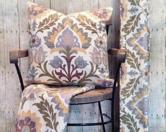 Relaxed Roman Shade Window Treatment | Pillow Covers |  Waverly Santa Maria Fabric