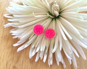 Hot Pink Silver Druzy Studs, 12mm druzy pink, silver earrings, druzy earrings, pink druzy, druzy jewelry, silver jewelry, pink earrings