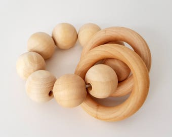 Wooden Natural Bead Teether - Montessori Inspired, Sensory Toy, Baby Shower Gift, Wooden Rattle, Montessori Baby, Teething Toy, Baby Toy