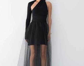 Evening Gown / Prom Dress / Black Dress / Party Dress / Formal One Shoulder Dress / Tulle Dress / Marcellamoda - MD0860
