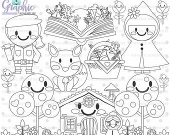 Red Riding Hood Stamps, Digital Stamps, COMMERCIAL USE, Digi Stamp, Digital Image, Red Riding Hood Graphics, Party Digistamp