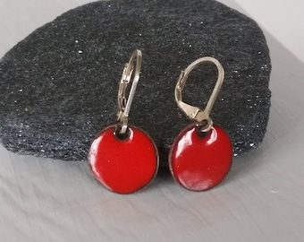 little red enamel earrings