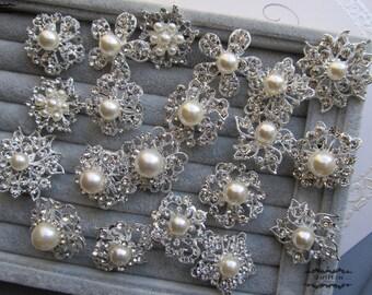 10-100 Pearl Brooch Lot Mixed Rhinestone Silver Pin Wholesale Crystal Wedding Bouquet Brooch Bridal Button Embellishment Hair Shoe DIY Kit