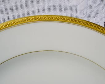 Vintage Haviland Limoges Luncheon Plate Wright Tyndale Van Roden White Gold Band France Replacement PanchosPorch