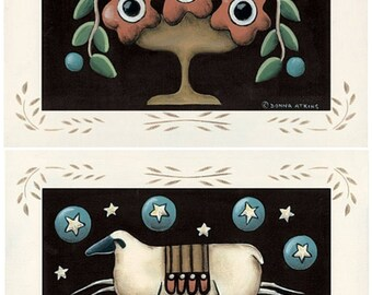Penny Rug Print. Choose Sheep and Saltbox -or- Doves and Flowers. Country cottage, primitive folk art by Donna Atkins