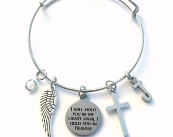 I will hold you in my heart until I hold you in heaven Bracelet, Gift for Sympathy, Jewelry Memorial Silver birthstone initial cross wing
