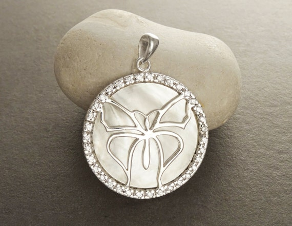 MOP Retro Pendant - Sterling Silver 925 - Mother of Pearl - Butterfly - Genuine MOP Cabochon - Statement Pendant - Micro Pave CZ Stone .