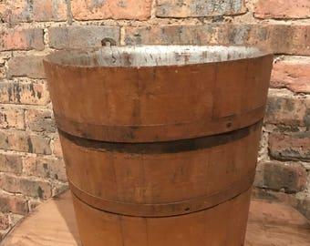 Primitive Antique Sap Bucket Mustard Paint Syrup Cabin Decor