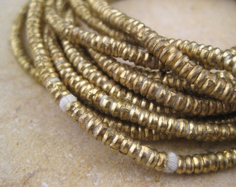 Brass Heishi Beads From the Villages of Ethiopia! African Metal Beads - Brass Spacers - Wholesale African Beads - Brass Beads 241