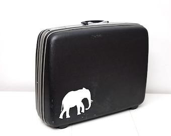 Upcycled XL Samsonite Suitcase with Hand Painted Elephant