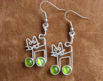 Cat EARRINGS with music notes olive green