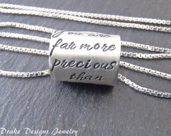 Inspirational jewelry Personalized quote necklace with your custom text.