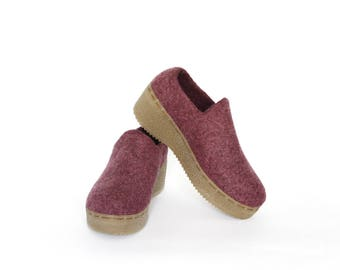 Women felt platform wedge shoes Organic wool spring clogs Purple felt clog wedge eco-shoes fashion felt boots Eco-friendly adult shoes