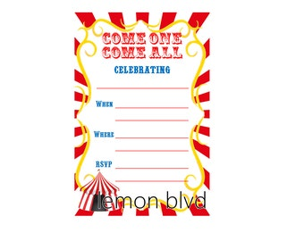 Circus Party Invitation - Instant Digital Download - Carnival Party Fill in the Blank Invite