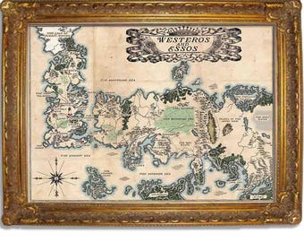 Westeros and Essos, Vintage Style map, Game of Thrones Map, Two Color options, Multiple sizes (in inches) 11x14, 16x20, 18x24, 20x24, 24x36