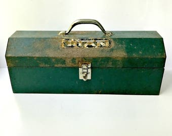 Vintage Distressed Steel Tool Box.  Titan Mechanics Box with Lift Out Tray.