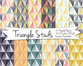 Geometric Digital Paper // Triangle Digital Background // Instant Download Geometric Paper