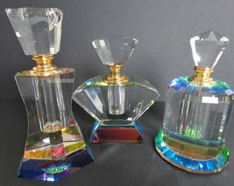 Crystal Perfume Bottles (3x)