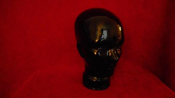 Vintage black ceramic women's head, mannequins, boutique accessories, wig shop accessories, beauty salon accessories, nail salon accessories