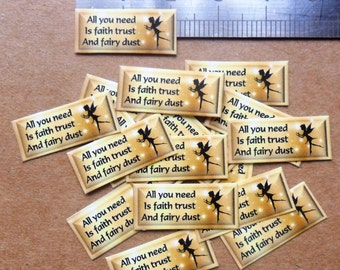 Faith trust & Fairy dust mini labels for little bottles. set of 50 stickers, gold colour for fairy craft, glitter dust, favours, paper craft