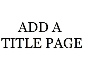 Add A Title Page
