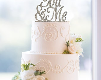 You and Me Glitter Wedding Cake Toppers, Script You & Me Cake Toppers, Elegant glitter cake toppers, Romantic Cake Topper, - (T061)