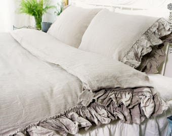 Natural stonewashed linen comforter cover -Ruffled beige luxurious double/queen/king size doona cover-stonewashed linen duvet