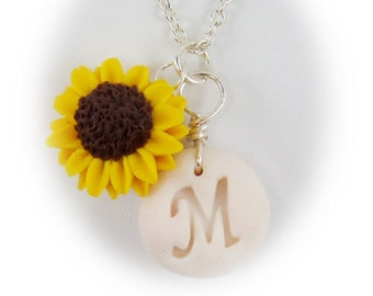 Personalized Sunflower Initial Necklace - Sunflower Jewelry