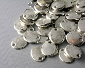 CHARM-DISC-OV-as-10MM - Silver Plated Oval Discs with antique finish - 10 pcs