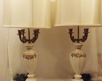 Antique Vintage French Porcelain Candelabra Lamps w Original Shades   Matched Pair