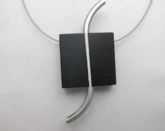 Sleek Wooden necklace Aluminum Modernist minimalist
