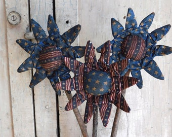 Primitive Americana Flower Pokes, Set of 3,  Folk Art Fabric Flower Bouquet, Stars and Stripes