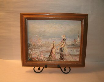 Original Painting Seaside Mother and Daughter Beach Ocean Seashore Victorian clothing Pastel Colors Impasto Style Framed