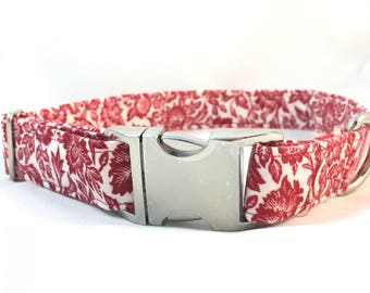 Vintage Red Floral Dog Collar - Metal Buckle Collar - Red Floral Dog Collar - Designer Floral Dog Collar - Mother's Day Gift - Easter Collar