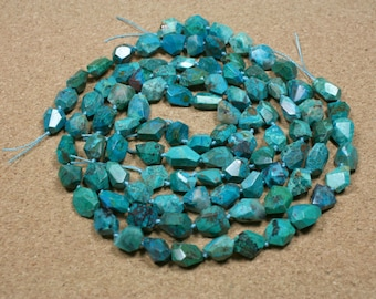 A+ Chrysocholla Faceted Nugget Beads - Dark Teal and Blue Center Drilled Beads, 9x10mm