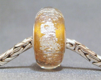 Gold & Peach Handmade Lampwork Big Hole Bead Sunkissed II