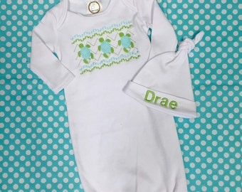 Turtle Faux Smocked gown