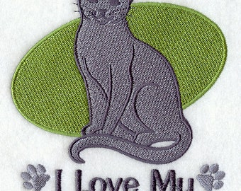 I Love My Russian Blue Embroidered Flour Sack Hand/Dish Towel