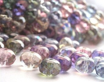Czech Glass Beads Fire Polished Gemstone Donuts 9x6mm Multi Color Luster AB (25) CZF047