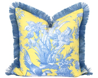 Chinoisorie Floral Pillow Embelished with Blue Brush Fringe.