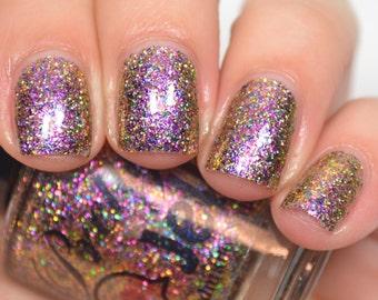 Glitter Nail Polish, Holographic Indie Nail Lacquer, Multichrome Flakie, Chrome Flake Glitter, Gold Holo Nail, Vegan, TRANSCENDENT TRIENNIUM