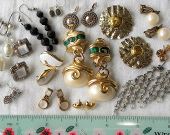 Vintage gold and silver earring lot, 14 piece vintage to now earring lot, gold and silver tone earring lot, gold tone lot, destash earrings