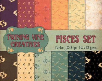 Zodiac Pisces Digital Papers, Vintage Paper, Commercial Use, Zodiac Paper, Pisces Paper, Pisces Pattern, Astrology Paper, Horoscope Paper