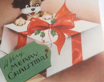 Christmas card puppy surprise unused+env